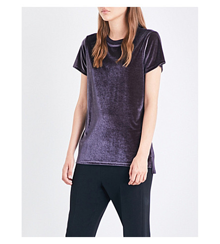 TED BAKER Relaxed-fit velvet top (Black