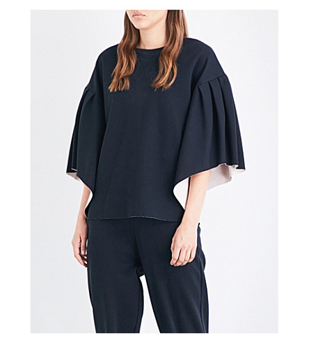 TED BAKER Flared-sleeve jersey sweatshirt (Black