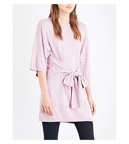 TED BAKER Olympy cotton and cashmere-blend knotted top (Dusky+pink