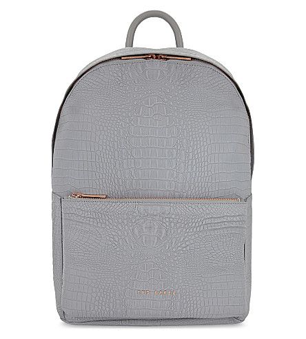 TED BAKER Rahri reflective crocodile-embossed backpack (Light+grey