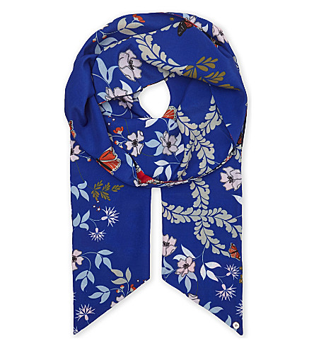 TED BAKER Kyoto skinny scarf (Mid+blue