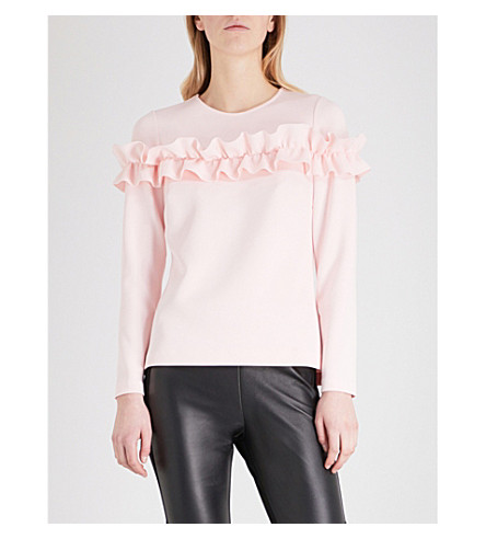 TED BAKER Aiya ruffled stretch-jersey top (Pale+pink
