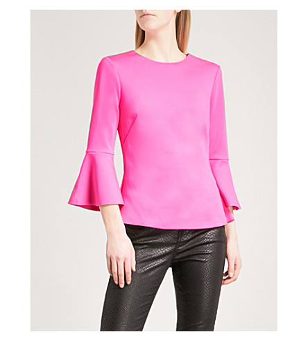 TED BAKER Gigih bell-sleeve woven top (Bright+pink