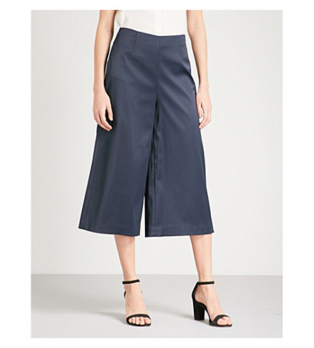 TED BAKER Berilo satin wide-leg culottes (Dark+blue