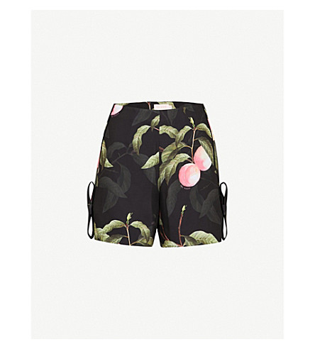 TED BAKER Catrena Peach Blossom satin shorts (Black