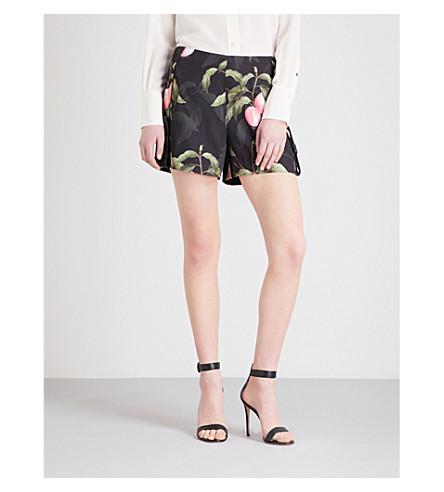 TED BAKER Catrena Peach Blossom satin shorts (Black