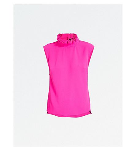 TED BAKER Rebela ruffled turtleneck crepe top (Bright+pink