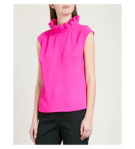 TED BAKER Rebela ruffled turtleneck crepe top (Bright+pink