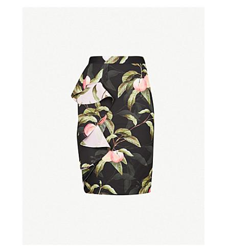 TED BAKER Blayyke Peach Blossom-print neoprene skirt (Black