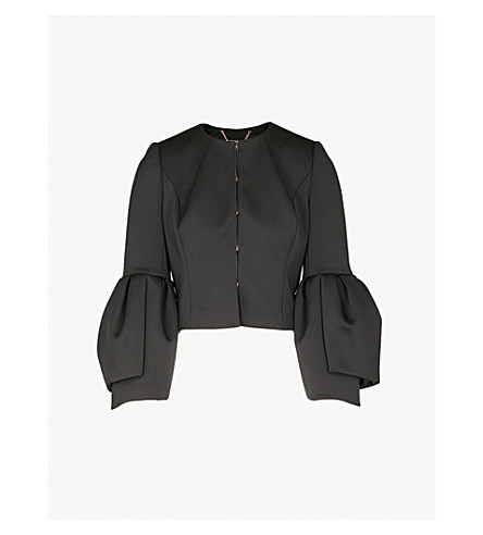 TED BAKER Bell-sleeve woven jacket (Black