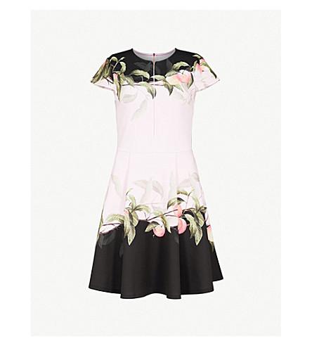TED BAKER Antana Peach Blossom-print skater dress (Light+pink