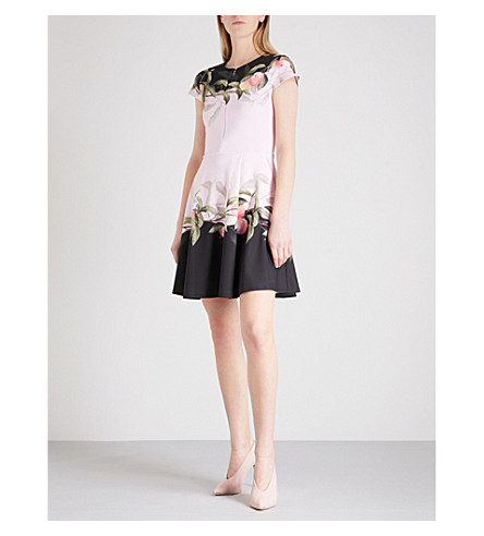 TED BAKER Antana Peach Blossom-print skater dress (Light+pink