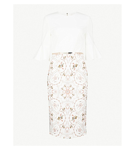 TED BAKER Barbz printed woven dress (Ivory