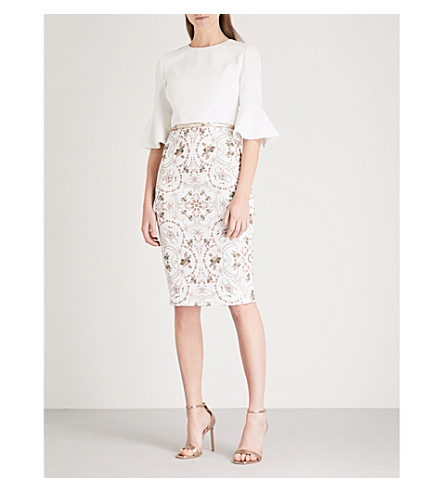 TED BAKER Barbz printed woven dress (Ivory