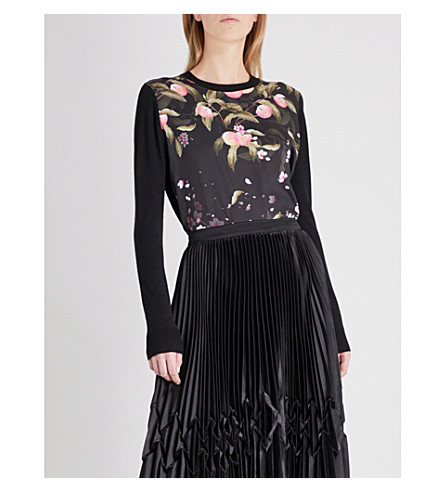 TED BAKER Anthya Peach Blossom-print knitted jumper (Black