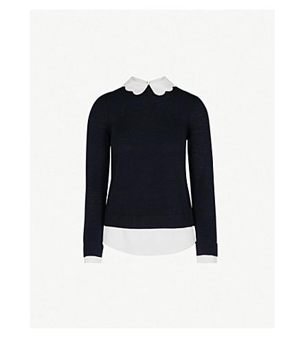TED BAKER Scallop neck knitted jumper (Dark+blue