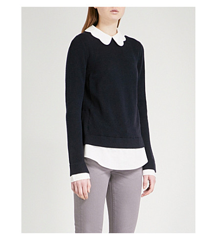 TED BAKER Scallop neck knitted jumper (Dark+blue