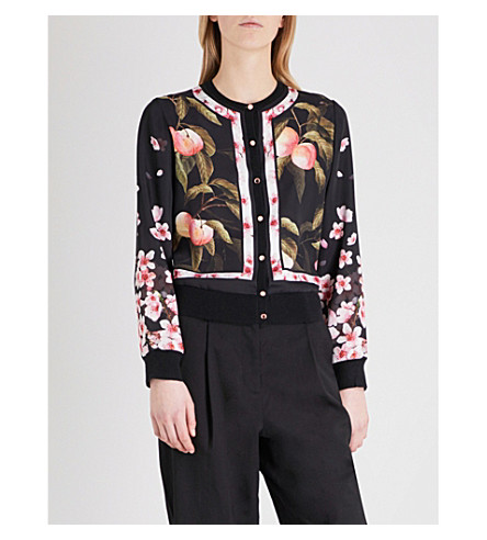 TED BAKER Flisity Peach Blossom-print woven bomber jacket (Black