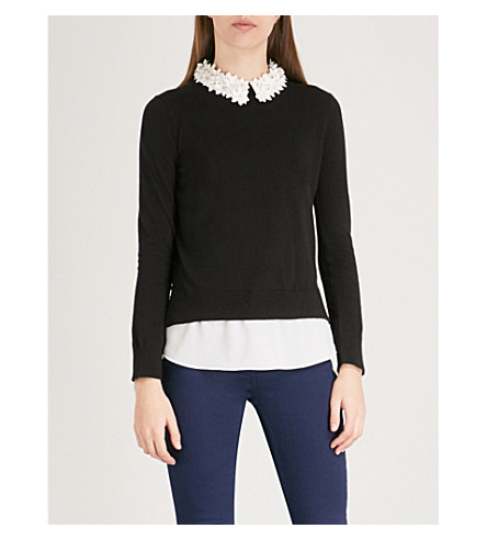 TED BAKER Floral-embellished collar cotton-blend jumper (Black