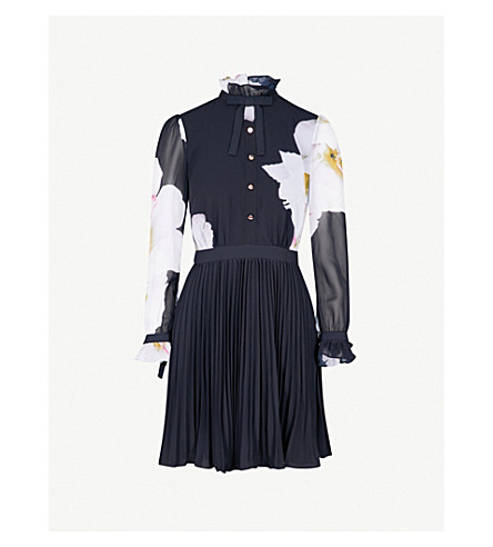 TED BAKER Ellona Gardenia pleated chiffon mini dress (Dark+blue