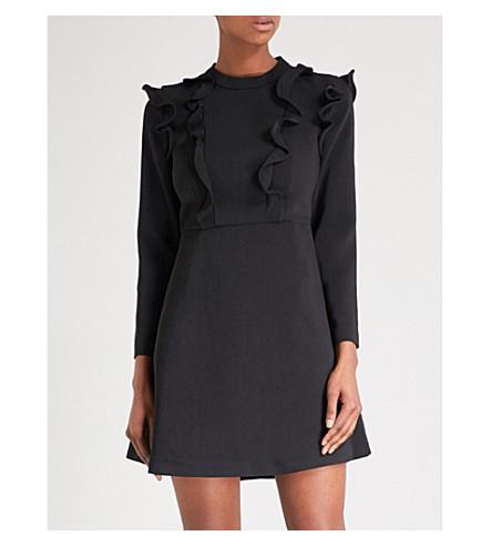 TED BAKER Frill-detail woven dress (Black