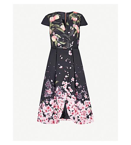 TED BAKER Peach Blossom twill dress (Black