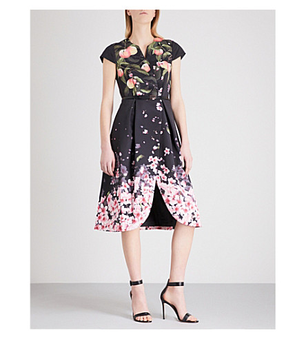 TED BAKER Peach Blossom twill dress (Black