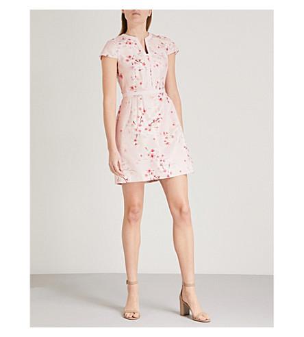 TED BAKER Floral-jacquard mini dress (Light pink