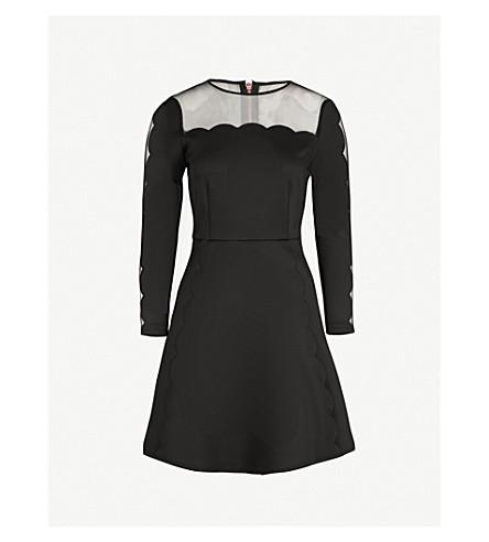 TED BAKER Kikoh mesh-panel jersey mini dress (Black