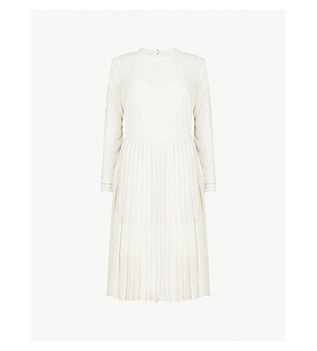 TED BAKER Looez lace-trim mesh and satin midi dress (Ivory