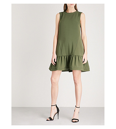 TED BAKER Mandii ruffled crepe mini dress (Khaki