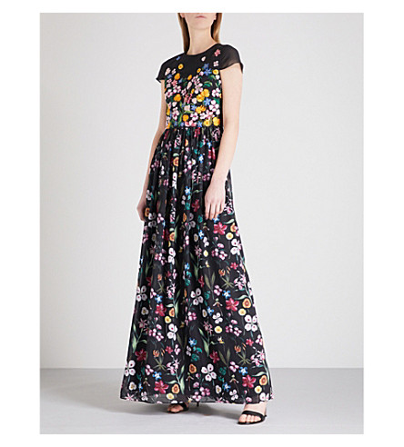 TED BAKER Hampton chiffon maxi dress (Black