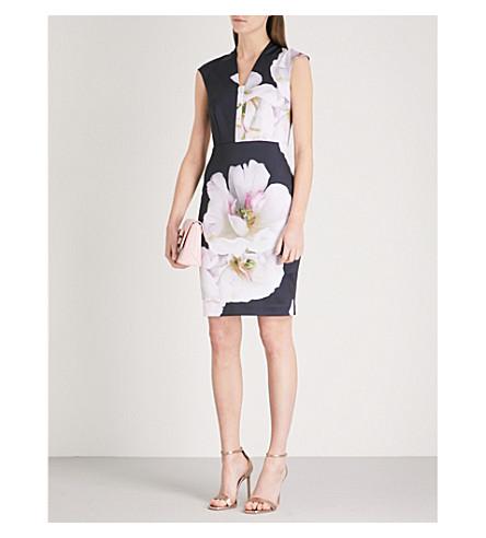TED BAKER Rhian Gardenia printed woven dress (Dark+blue