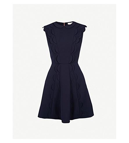 TED BAKER Triksi scalloped jersey mini dress (Dark+blue