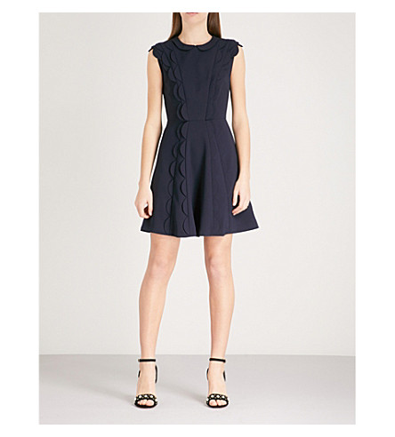 TED BAKER Triksi scalloped jersey mini dress (Dark+blue
