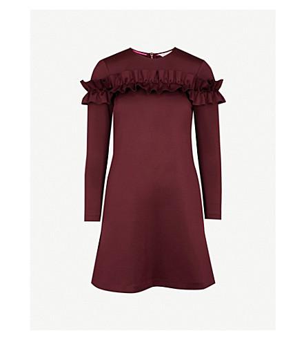TED BAKER Zufara ruffled jersey mini dress (Oxblood