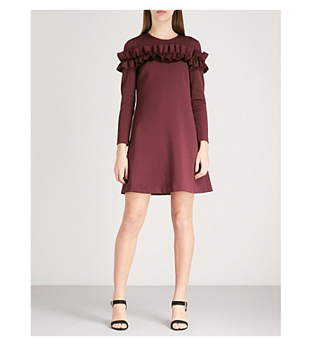 TED BAKER Zufara ruffled jersey mini dress (Oxblood