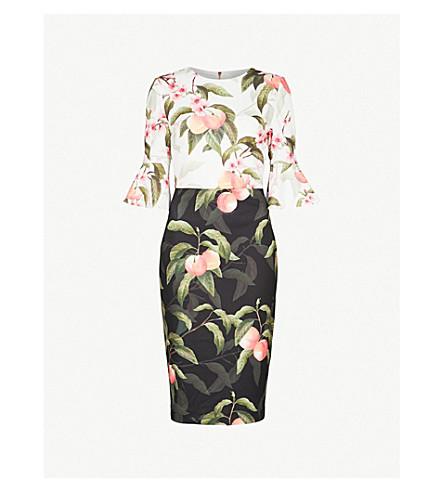 TED BAKER Peach Blossom crepe dress (Black