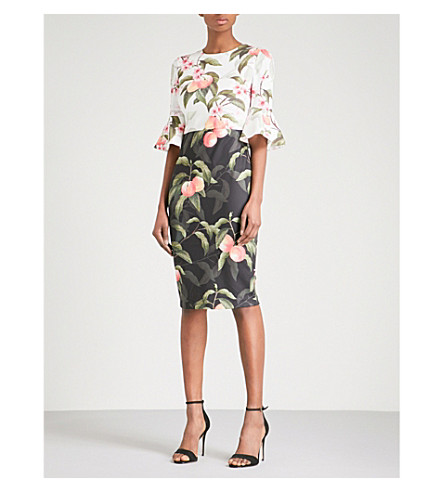 TED BAKER Peach Blossom crepe dress (Black