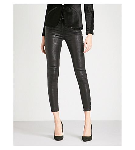 TED BAKER Coated snake-effect mid-rise skinny jeans (Black