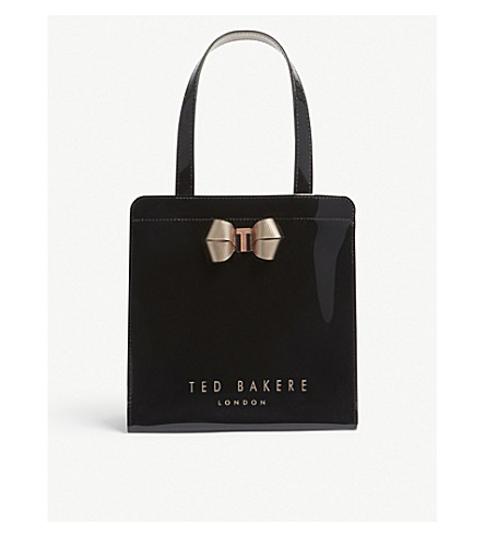 TED BAKER Bow-detail patent shopper bag (Black