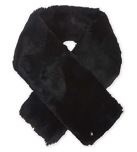 TED BAKER Softyy faux-fur long scarf (Black