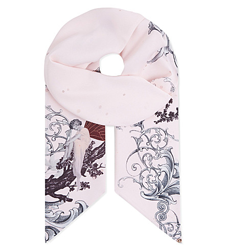 TED BAKER Unicorn skinny scarf (Pale+pink