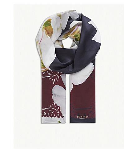 TED BAKER Gardenia print scarf (Dark+blue