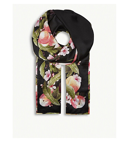 TED BAKER Primula silk scarf (Black