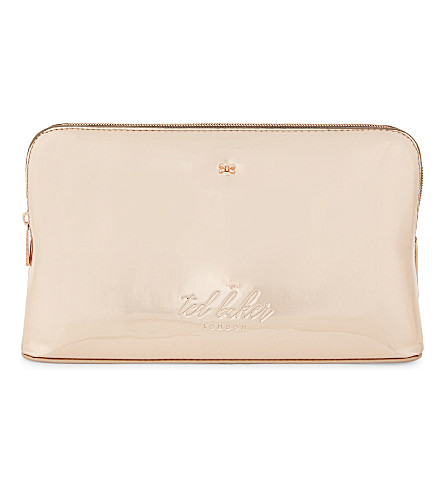 TED BAKER Lauran mirrored wash bag (Rose+gold