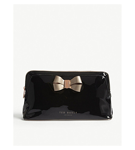 TED BAKER Bow patent faux-leather wash bag (Black
