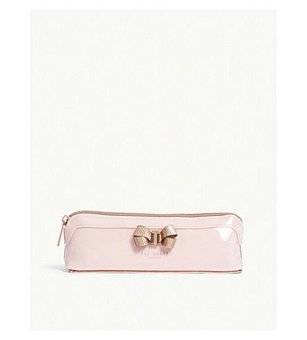 TED BAKER Lora patent faux-leather pencil case (Pale+pink