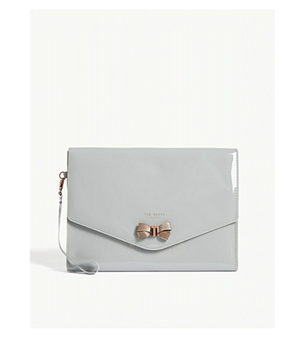 TED BAKER Luanne bow envelope pouch (Mid+grey