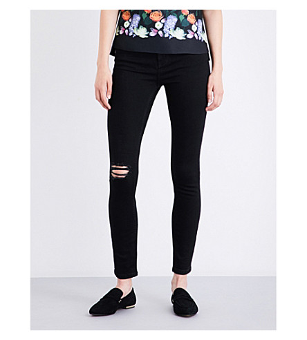 TED BAKER Abrasion skinny high-rise stretch-denim jeans (Black